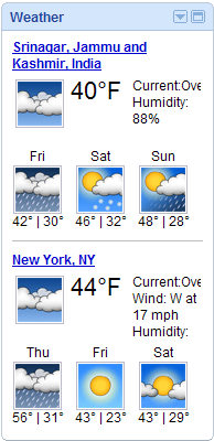 Today's weather in Srinagar and New York from iGoogle Weather gadget